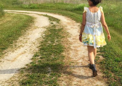 A country girl in a country dress