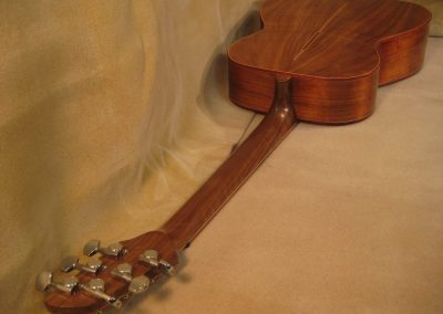 Completed Walnut/Sruce Stage model fan fret guitar