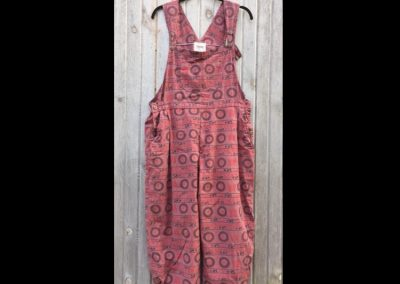 Red Om Bibs Pleated - Brilliant Stranger Clothing - a collaboration with Nepalese Fair Trade Artisans