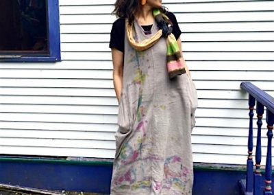 Curious Ecology Dress - Mordant dyed, fair trade cotton, OOAK hand painting