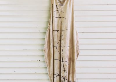 Ladder Dress: Fair Trade cotton, tea  stained and hand painted